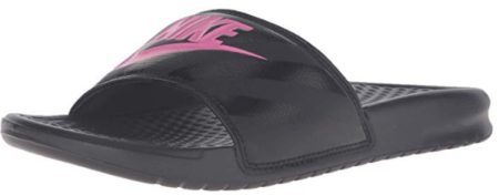 This is an image of girl's nike sandal in black and pink colors