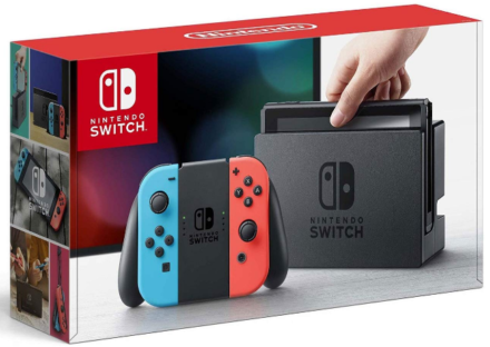 This is an image of boy's Nintendo switch in blue, red and black colors