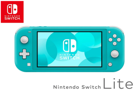 This is an image of girl's nintendo switch lite in turquoise color