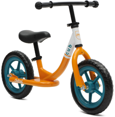 This is an image of toddler's no pedal bike balance in yellow and white colors