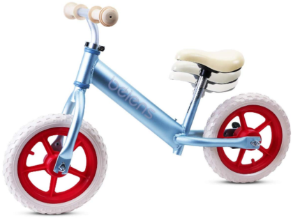 This is an image of toddler's no pedal bicycle in blue and white colors