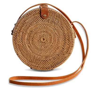 This is an image of a brown Ivy Ata Grass rattan bag for ladies by Novum Crafts.