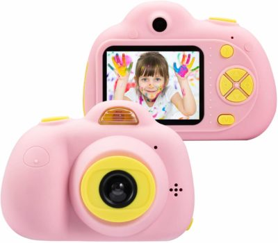 This is an image of a pink mini camera for kids by Omzer.