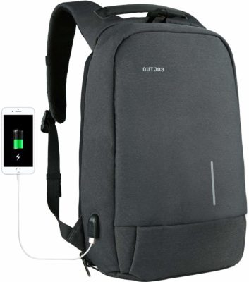 This is an image of a grey anti theft laptop backpack by OUTJOY.