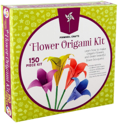 This is an image of girl's origami flowers paper folding kit