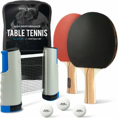 This is an image of an all in one ping pong set by Pro Spin.