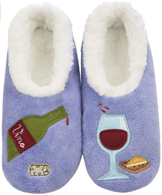 This is an image of mom's pairable soft slippers with wine graphics in blue and white colors
