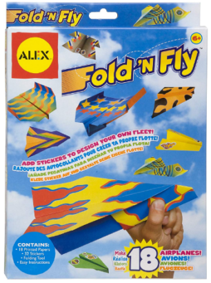 This is an image of boy's paper airplanes kit in colorful colors