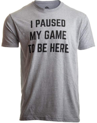 This is an image of boy's Paused my game to be here T shirt in gray color