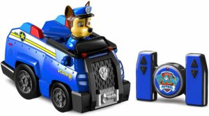 This is an image of a blue rc rescue toy car by Paw Patrol.