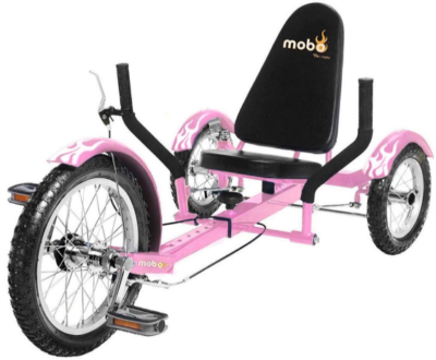 This is an image of girl's pedal go kart with 3 wheels in pink color