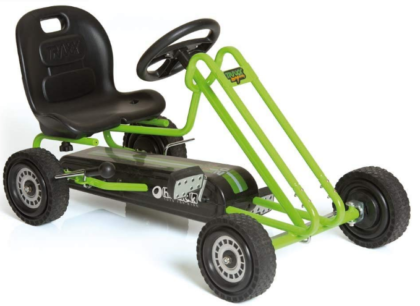 This is an image of boy's pedol go kart in green color