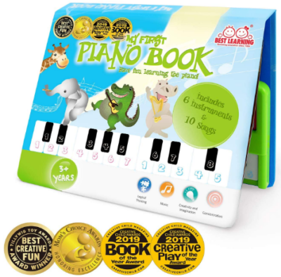 This is an image of kid's Educational piano book in green color
