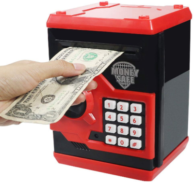 This is an image of kid's electronic piggy banks ATM in red color