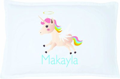 This is an image of a personalize unicorn pillow case for little girls by Pillows2.