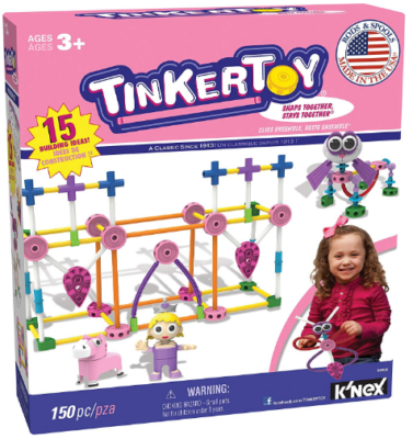 This is an image of kid's construction building set by Thinker Toy in pink color