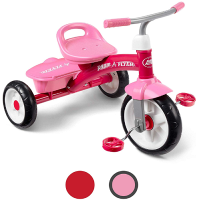 This is an image of girl's rider trike in pink color