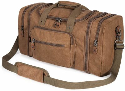 This is an image of a coffee brown duffle bag for men by Plambag.