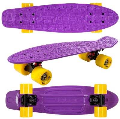 This is an image of kid's plastic cruiser skateboard in purple color