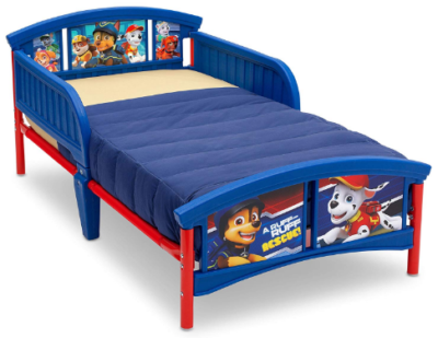 This is an image of toddler's plastic bed with paw patrol graphics in blue and red colors