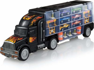 This is an image of a toy truck that carries 6 toy cars designed for kids by Play22.