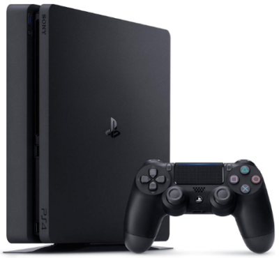 This is an image of girl's playstation 4 slim console with 1TB and remote control in black color