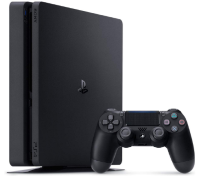 This is an image of boy's Playstation 4 slim with 1tb console in black color
