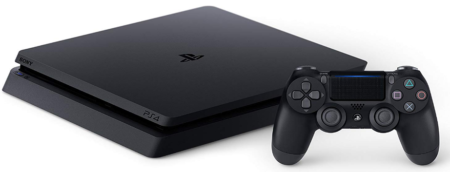This is an image of boy's playstation 4 slim console with 1tb and remote control in black color
