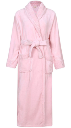 This is an image of mom's soft plush bathrobe in pink color