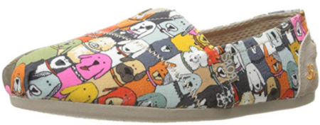 This is an image of girl's plush wag flat with cartoon dogs in colorful colors