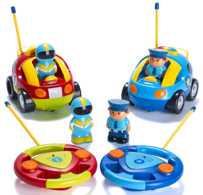 This is an image of boy's police and race cars with remote control in colorful colors
