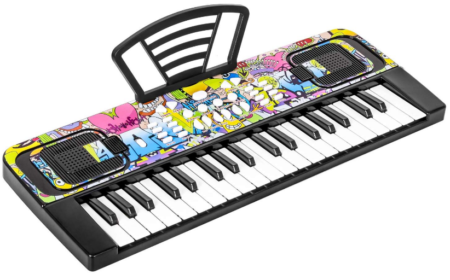 This is an image of boy's Keyboard piano with graphics in black color