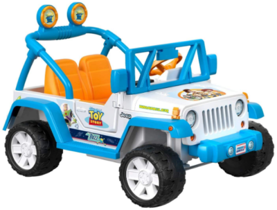 This is an image of girl's power wheels jeep with pixar toy theme in blue and white colors