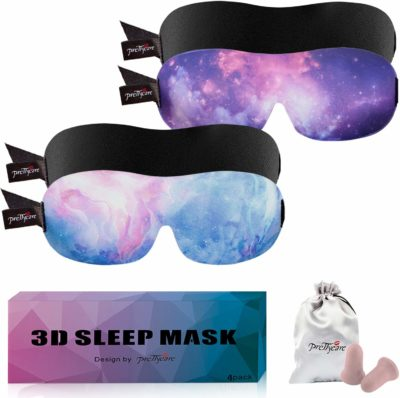 This is an image of a 2 pack purple, blue and black sleep mask by PrettyCare.