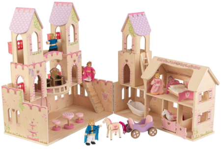 This is an image of girl's princess castle dollhouse with furniture