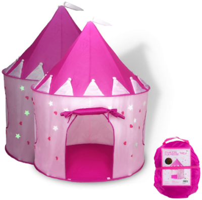 This is an image of girl's princess castle play tent in pink color
