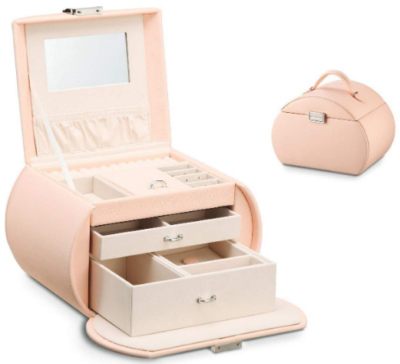 This is an image of girls jewelry box in pink color