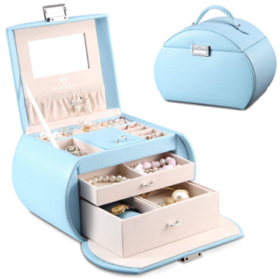 This is an image of girl's jewelry box in blue color
