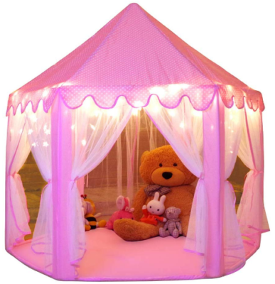 This is an image of girl's larg tent for princess in pink color