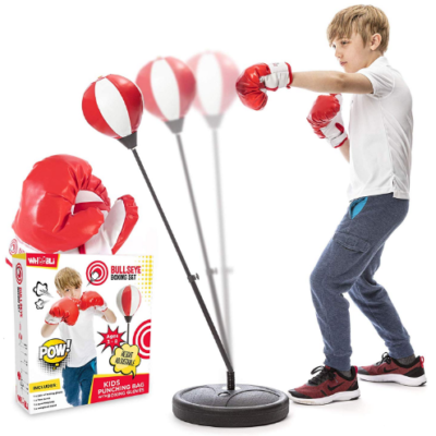 This is an image of boy's pushing bag with gloves in white and red colors