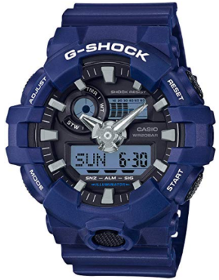 This is an image of boy's casio quartz watch in blue color