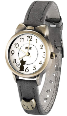 This is an image of girl's Quartz watch with kitties in gray color
