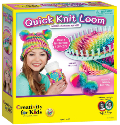 This is an image of girl's craft Pom hat and other accessories in colorful colors