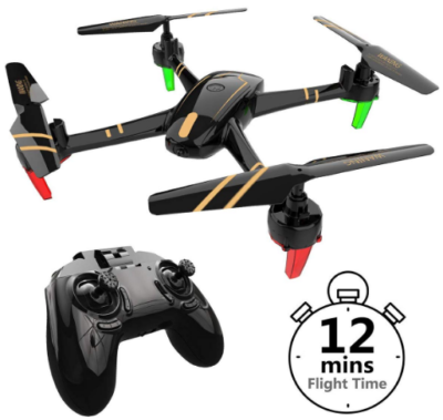 This is an image of boy's racing drone with remote control and quadcopter in black color