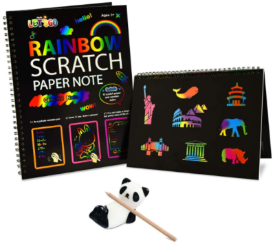 This is an image of boy's rainbow scratch paper in black color