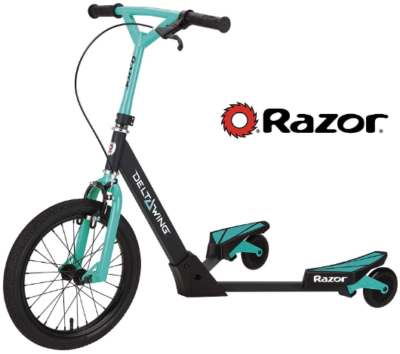 This is an image of kid's scooter by Razor in black and blue colors