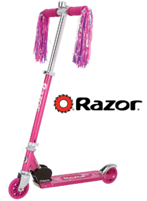 This is an image of girl's razor kick scooter with 2 wheels in pink colors