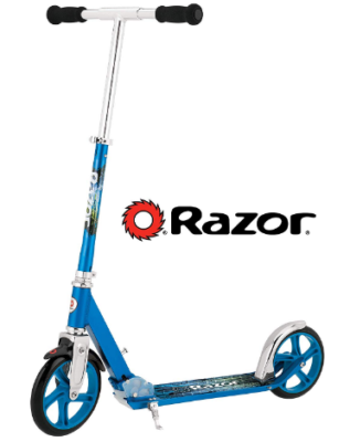 This is an image of kid's razor lux kick scooter in blue color