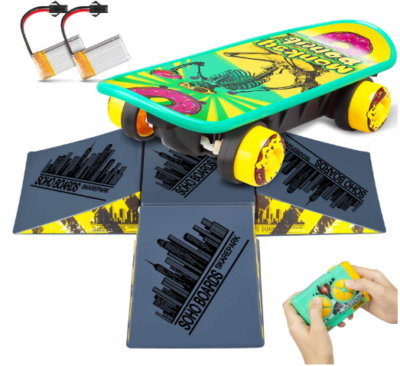 This is an image of boy's skateboard toy with remote control and 4 sided pyramid in colorful colors
