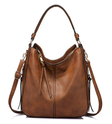 This is an image of a brown gold hobo bag for women by Realer..